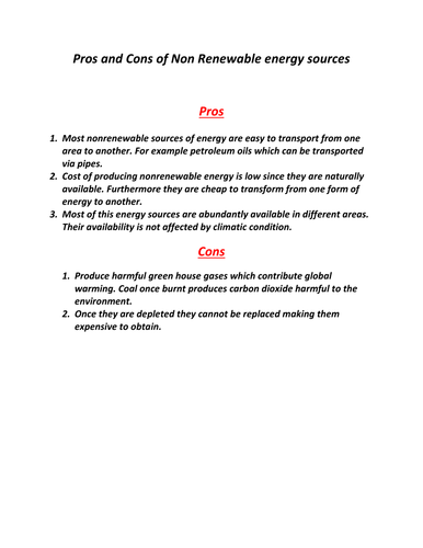 Pros and Cons of Non Renewable energy sources