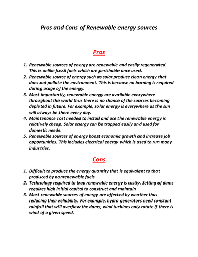 Pros and Cons of Renewable energy sources