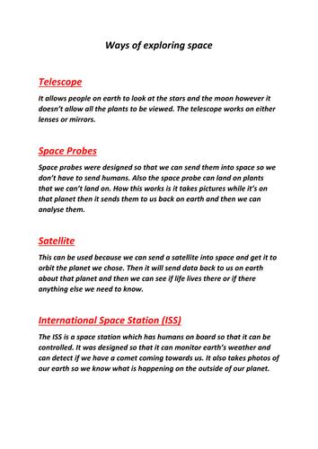Ways of exploring space