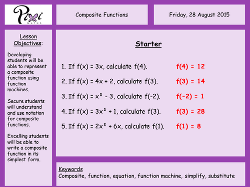 Composite Functions by PixiMaths Teaching Resources TES – Composite Functions Worksheet