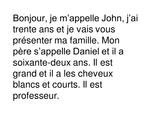 Dictée Moi et famille / Dictation Myself and family