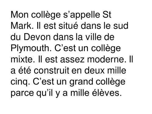 Dictée Mon college / Dictation My School