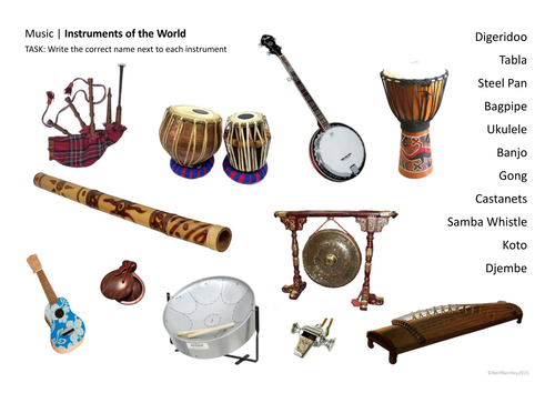 World Music Instruments - Starter Activity