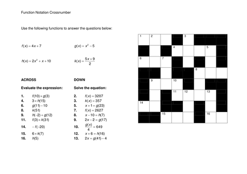 Function Notation Crossnumber by cbarthur Teaching Resources Tes – Function Notation Worksheet