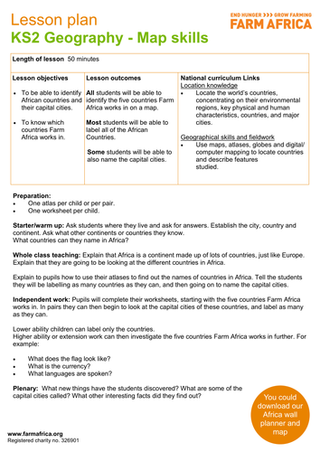 Geography KS Map Skills By FarmAfrica Teaching Resources Tes - Africa map ks2