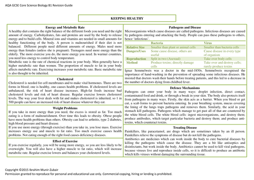 Concise GCSE AQA [B1] Core Biology Revision Guide [8 Pages]