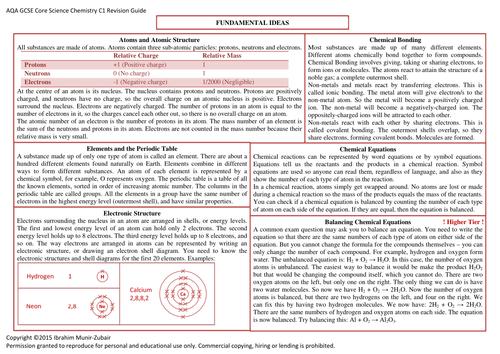 Concise GCSE AQA [C1] Core Chemistry Revision Guide [6 Pages]