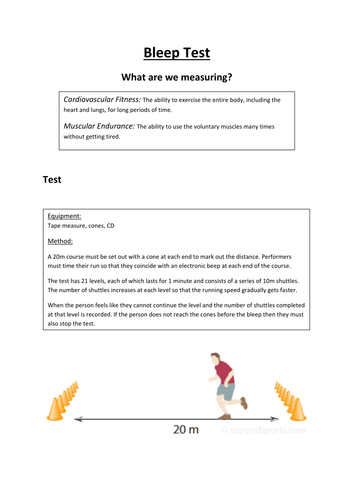 Fitness Test Task Cards