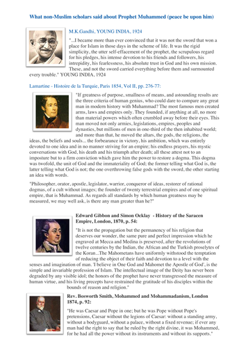 Review of the Prophet Muhammad by famous personalities