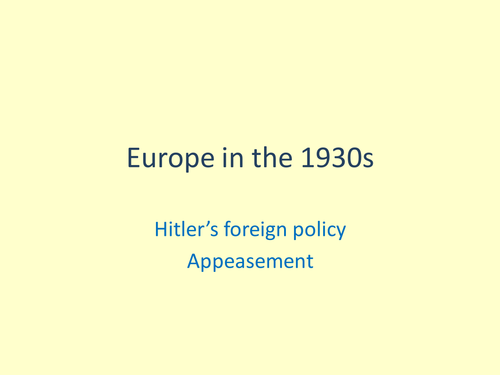 Hitler's foreign policy multiple choice game