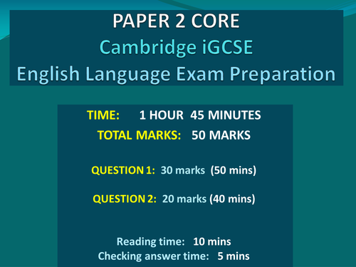 Cambridge iGCSE English First Language Examination Core
