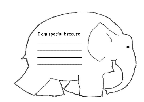 'I am special because ...'  Elmer themed worksheet.