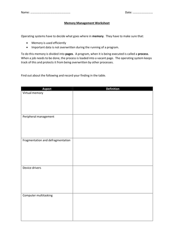 Memory Management worksheet