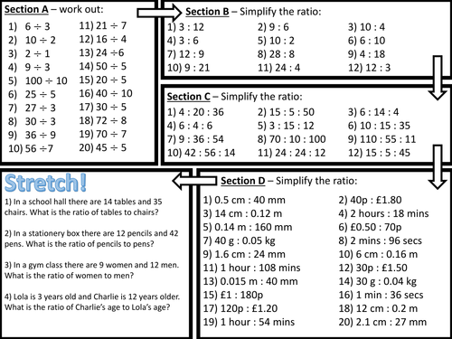 Simplifying Ratio Worksheet by Stacy3010 Teaching Resources TES – Ratios Worksheet