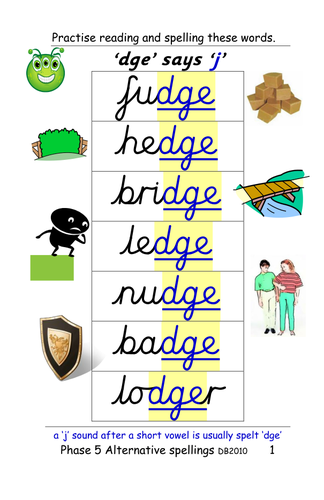 Phase 5: alternative spellings for 'j' [fudge, gentle]. Table and sentence cards and ppt.