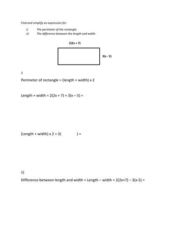 Expand brackets problem solving activity