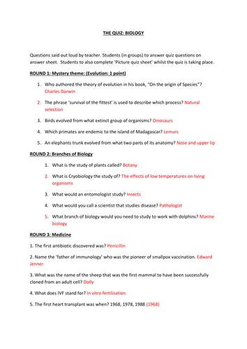 End of Year Biology Quiz 2