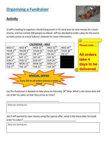 Functional Maths Activity - Organising a Fundraiser (E3 - L1)
