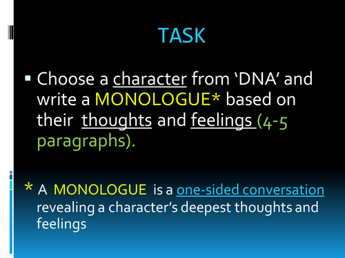 'DNA' Monologue - Creative Writing/Speaking and Listening