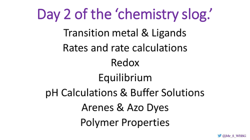 Revision for A2 chemistry