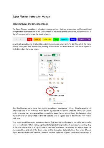 Planning spreadsheet