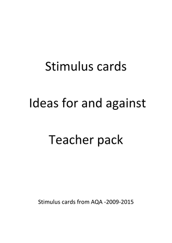 Stimulus cards for and against