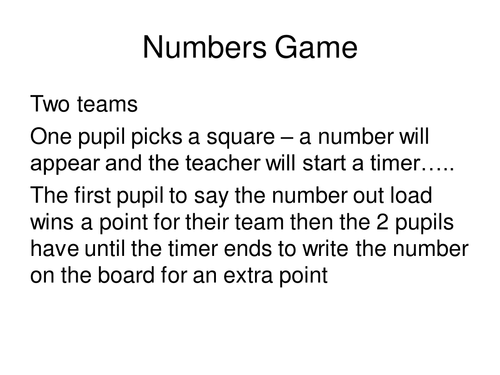Numbers 1-100 game