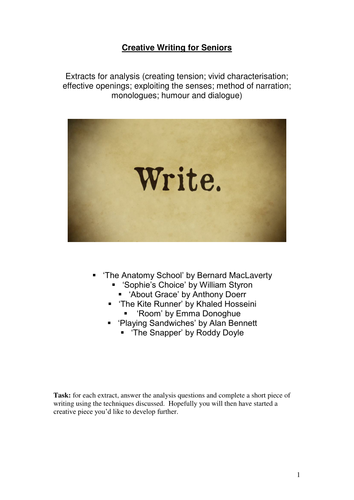 Creative Writing for Senior pupils