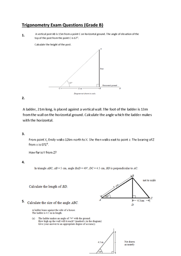 Exam questions on Trigonometry and Pythagoras