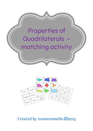 Properties of Quadrilaterals - matching activity