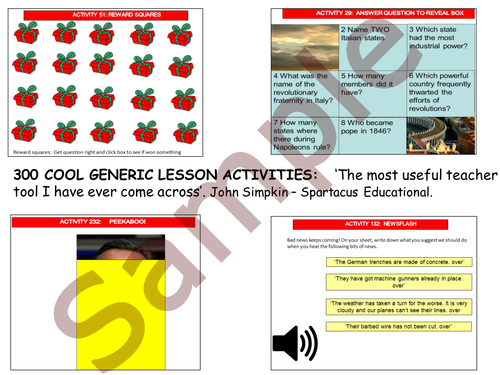 300 generic lesson activities - 25% sample