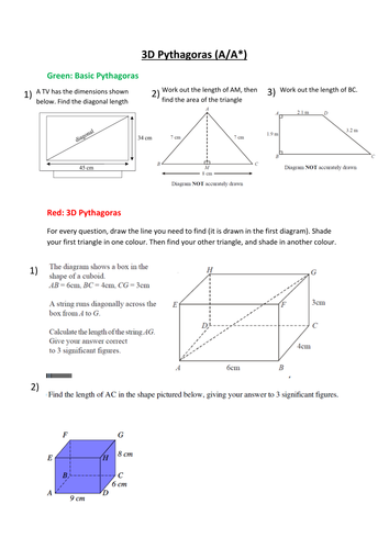 3d Pythagoras Ppt And Worksheet By Karinavh Teaching Resources Tes