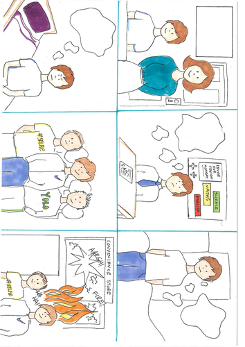 Cohen Status Frustration Fun Activity. Cartoon and stages match up