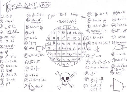 Worksheets Treasure Hunt Math Worksheet dandavies8s shop teaching resources tes mixed bag maths treasure hunt worksheet ddv
