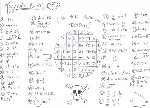 Mixed Bag Maths Treasure Hunt Worksheet DDV
