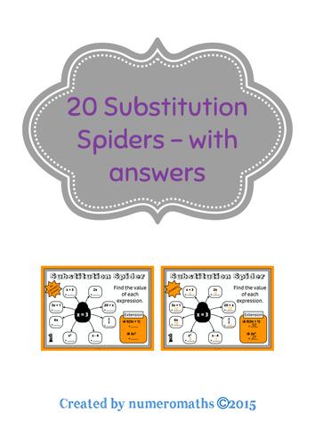 20 Substitution Spiders - Algebra Starters