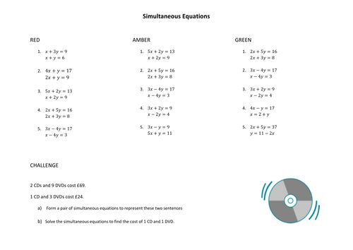 Worksheet simultaneous equations by MCAMaths Teaching Resources – Equation Worksheet