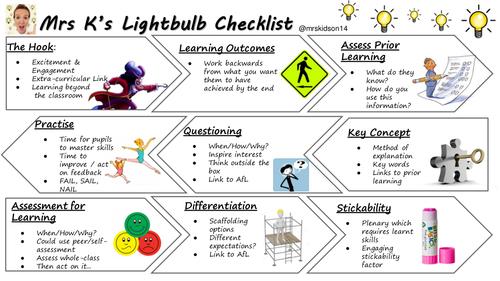 Mrs K's Lightbulb Checklist - Lesson Plan