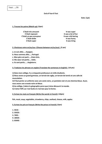 Controle Mission Francais Yr8 / End of Year Test Mission Francais Yr8