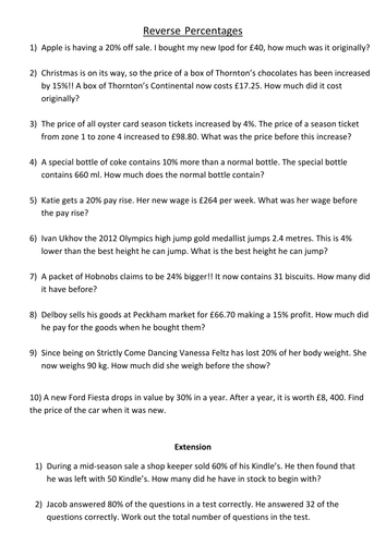 Reverse Percentages Worksheet By Jamesclegg Teaching Resources Tes