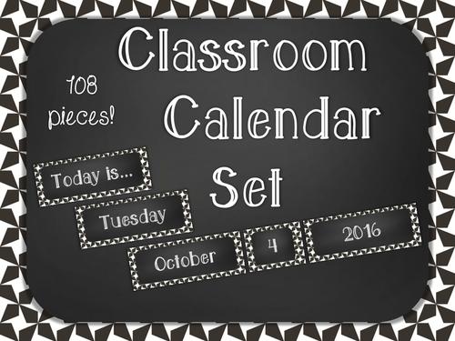 Chalkboard Classroom Calendar Set - Black Star
