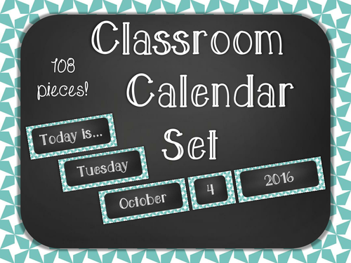 Chalkboard Classroom Calendar Set - Blue Star