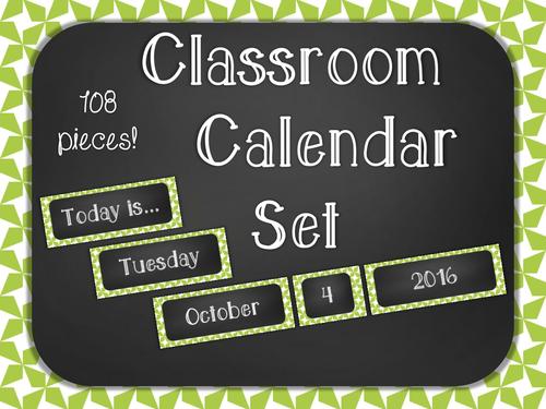 Chalkboard Classroom Calendar Set - Green Star