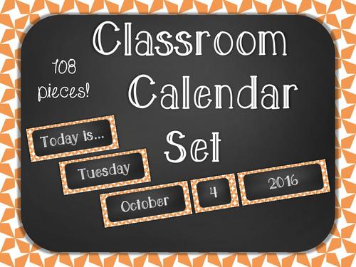 Chalkboard Classroom Calendar Set - Orange Star