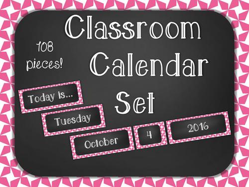 Chalkboard Classroom Calendar Set - Pink Star