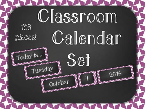 Chalkboard Classroom Calendar Set - Purple Star