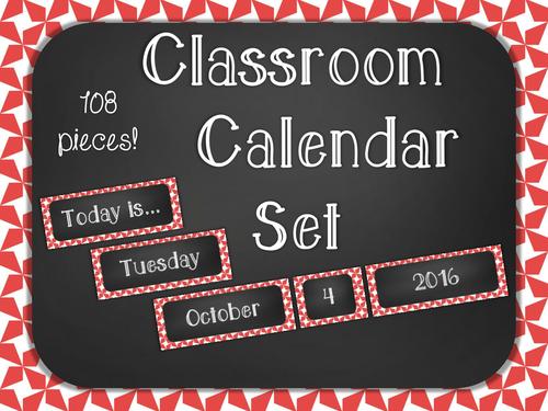 Chalkboard Classroom Calendar Set - Red Star