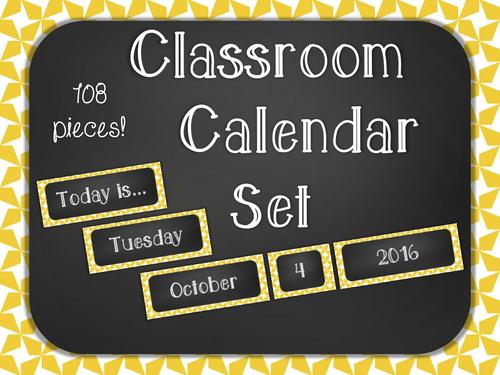 Chalkboard Classroom Calendar Set - Yellow Star