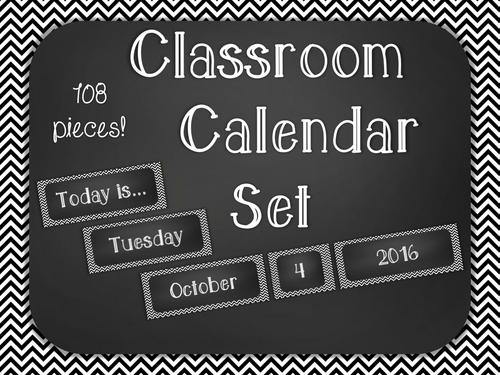 Chalkboard Classroom Calendar Set - Black Chevron
