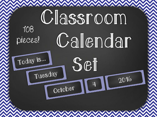 Chalkboard Classroom Calendar Set - Blue Chevron